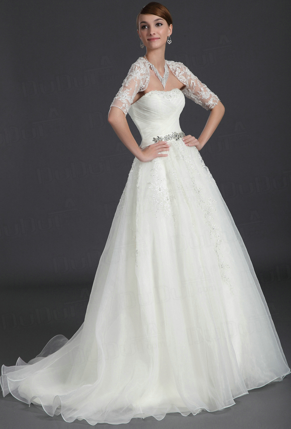 Ball Gown Tulle Tube Top Half Sleeve Sweep Lace Crystal Rhinestone Wedding Dresses
